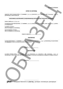 Примерен документ Запис на заповед